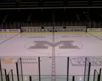 View from the stands of the playing surface at Yost Ice Arena in Ann Arbor, Michigan. Photo credit: Tim Pulice